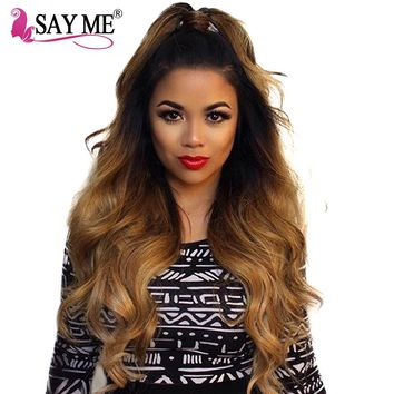 SAY ME Ombre Brazilian Body Wave Hair Weave Bundles 1b/4/27 Blonde Non Remy Human Hair Extensions Light Brown Colored Hair