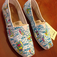 Lilly Pulitzer Inspired Handpainted Toms- you gotta regatta sizes 5-8.5