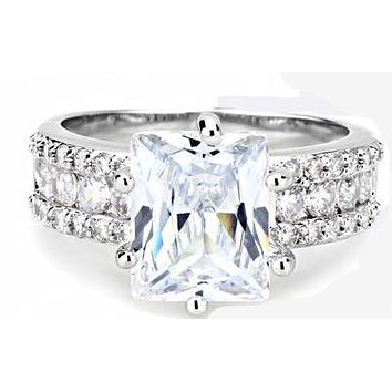 A Perfect 4CT Emerald Cut Russian Lab Diamond Engagement Ring