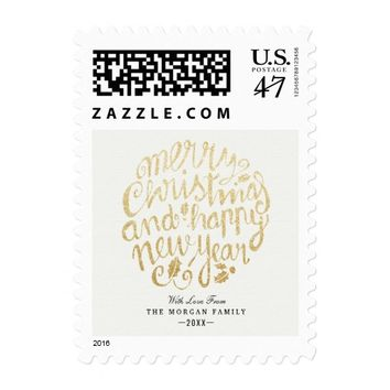 White & Gold Christmas & Happy New Year Typography Postage