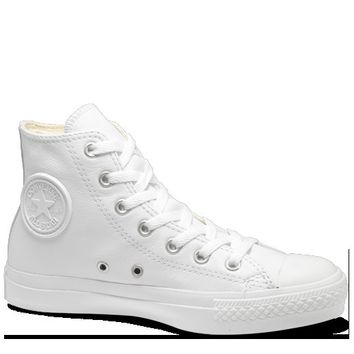 All-White Hi Top Leather Chuck Taylors : Converse Shoes | Converse.com
