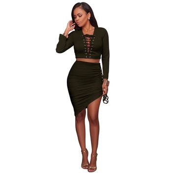 Lace Up Crop Top and Irregular Skirts