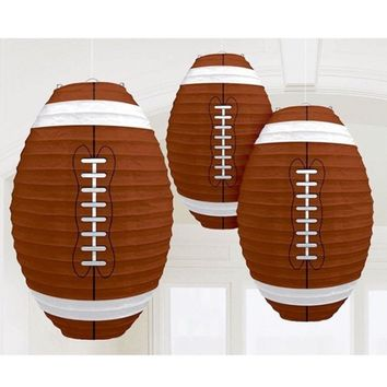 Football Paper Lantern| Brown and White Game Day, Football Paper Lantern Hanging Decorations, Football Party Decor, Football Birthday Supply