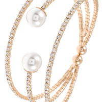 Rhinestone and Pearl Bracelet- Gold