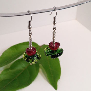 Water Lily Flower / Dangle Earrings / Handmade Lampwork Beads / Monet Inspired / Custom colors / One-of-a-kind / Handmade Glass Beads