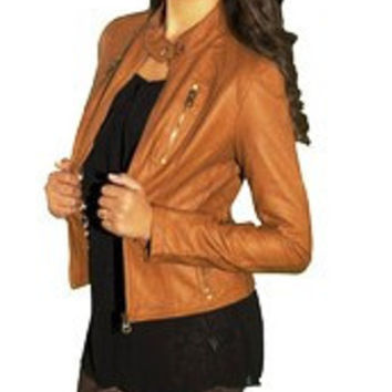 Faux Leather Moto Jacket - Chestnut Ed