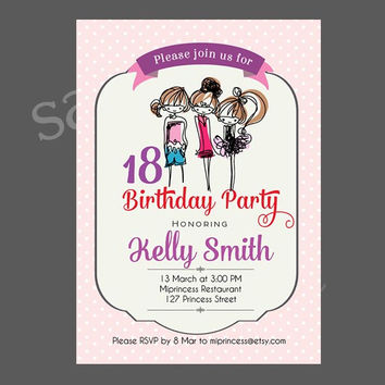 Girls 18 Birthday party Invitation for any age,  18 20 30 40 50 60 70 80 birthday invitation doodle girl illustration Card Design  - card 75