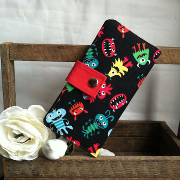 Fun Monster folded wallet with coin pouch, bill slots, card slots