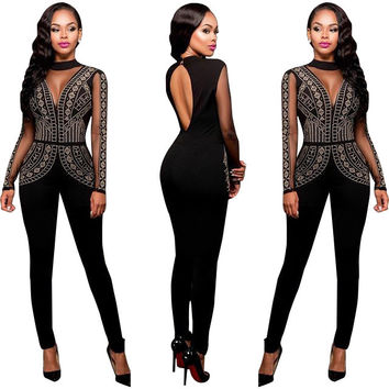 Long Sleeve Mesh Panel Cutout Back Jumpsuit