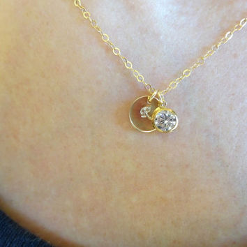 Initial Disc Diamond Solitaire Necklace, Solitaire Necklace Tiny Disc Initial, Initial Jewelry Mom Jewelry Mom Necklace Jewelry Gift For Her