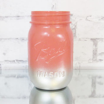 Coral Mason Jars - Coral Wedding Decor - Coral and Silver Mason Jar - Painted Mason Jars - Coral Ombre Jars