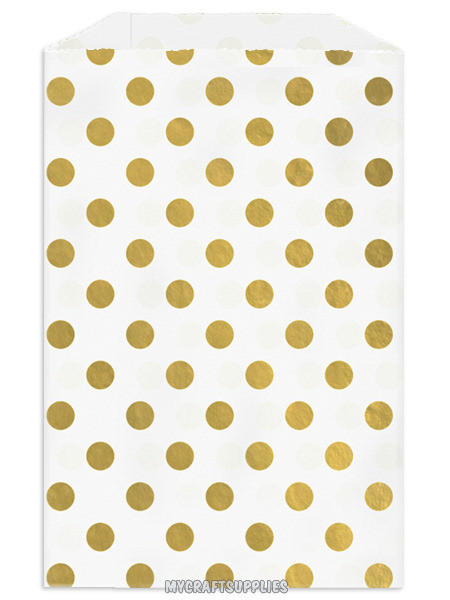 50 Metallic Gold Polka Dots Flat Paper From My Craft Supplies