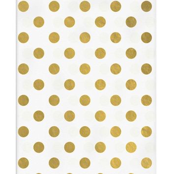 50 Metallic Gold Polka Dots Flat Paper (Favor) Bags, 5 x 7.5 Inch