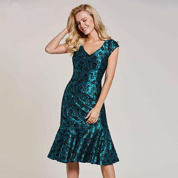 Beaded mermaid cocktail dress dark green cap sleeves tea length gown women lace v neck homecoming short cocktail dresses