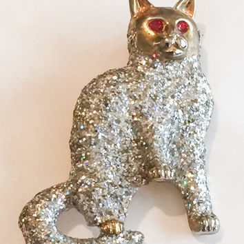 Glitter Cat Brooch, Vintage Jewelry, CHRISTMAS SALE