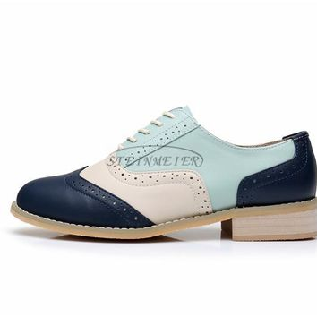 b72049f91dc women genuine leather oxford shoes vintage handmade laces loafer