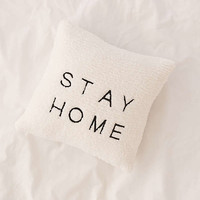 Stay Home Embroidered Amped Fleece Throw Pillow | Urban Outfitters