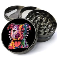 Pitbull Rainbow Psychedelic Dog Deluxe Metal 5 Piece Herb With Fine Screen