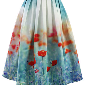 Poppy Flower Print Midi Skirt Green