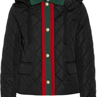 Gucci - Hooded grosgrain-trimmed quilted shell jacket