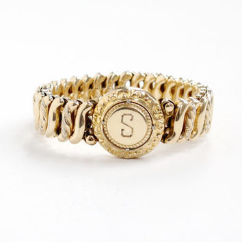 Vintage Gold Filled Monogrammed S Expansion Bracelet - Mid Century WWII 1940s Stretch Sweetheart Jewelry Carmen D.F.B. Co.