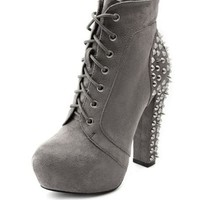 Sueded Stud-Back Thick-Heel Bootie: Charlotte Russe