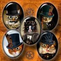 Steampunk Cat - Digital Collage Sheet CG-556O - 30x40mm ovals