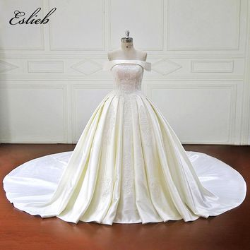 Eslieb Elegant Lace Appliques Ball Gown Wedding Dresses 2018 Sexy Strapless Royal Train Bridal Gown Plus Size Vestido de Noiva