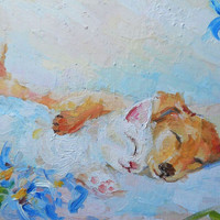 """Kitty, Puppet, Pets painting, """"Best friends"""", Oil Painting, Impasto, Birthday, Gift, Mothers day, Gift Idea, Made to Order, Child Room Art"""