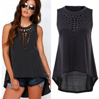 New Sexy Women Lady Girl Plus Size Hollow Sleeveless Swallowtail Shirt Casual Vest Blouse Tank Tops Gift