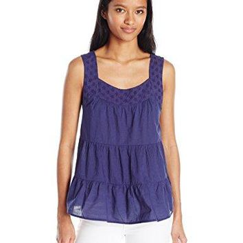 US Polo Assn Juniors Tiered cambric and Eyelet Tank Top