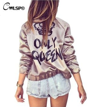 Trendy CWLSP Fashion Satin Silk Women Coats Gold Bomber Jacket Back ONLY QUEEN Crown Letter Print Outerwear Streetwear chaqueta mujer AT_94_13