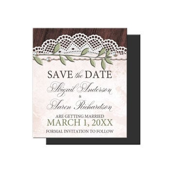 Save the Date Magnets - Rustic Vintage Wood Lace