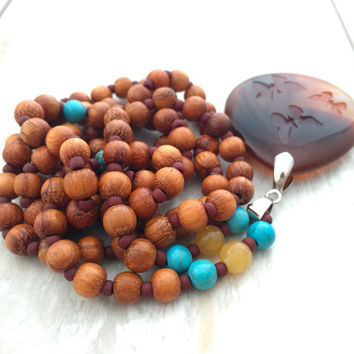 Butterfly Mala Beads, Agate Mala Necklace, Bohemian Jewelry, Festival Necklace, Yoga Jewelry, Yoga Inspired, Handmade Wood Mala