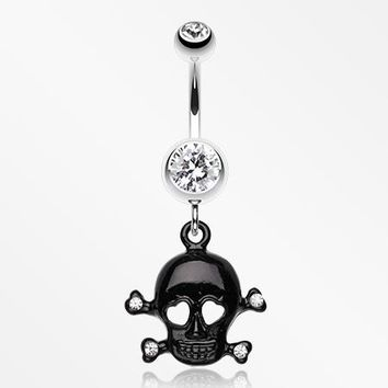 Heart Eyed Skull and Crossbones Sparkle Belly Ring