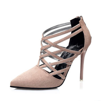 Sexy Strappy High Heels Shoes Woman Lace Up Heels Cutout Wedding Shoes Suede Lea