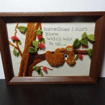 "Vintage Framed Koala in a Tree Crewel Wall Art - ""Sometimes I Don't Know Which Way Is Up"""