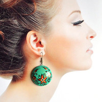 Turquoise round earrings of wood with hand painted Handmade wooden earrings Gift idea for her Bright green jewelry Casual Dangling earrings