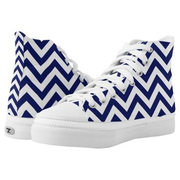 Chevron in Blue and White Shoes Printed Shoes