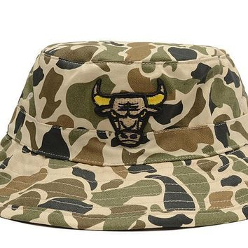 PEAPON Chicago Bulls Full Leather Bucket Hats Camouflage