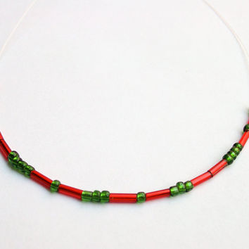 Morse code necklace  Keep Venice Weird handmade Italian Murano glass bead jewelry in Red dash and Green dot, Handcrafted in Venice, Italy