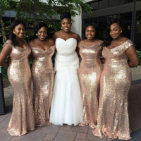 Gold Sequin Bridesmaid Dress Long Off Shoulder vestido longo 2017 Sexy Wedding Party Dress Prom Gowns Fitted Plus Size