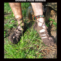 Pixie Sandals Leather BROWN COLOUR Hippy Psytrance Festival Boho Ethnic Party Wear