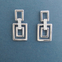 Modern, Squares, Cubic, Silver, Earrings, Dangling, Earrings, Birthday, Best friends, Wedding, Mom, Gift, Jewelry