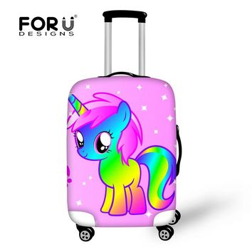 FORUDESIGNS Cartoon 3D Unicorn Print Luggage Protective Covers Elastic Spandex Suitcase for 18-30 Inch Cover Travel Accessories
