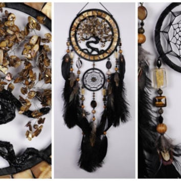 Gold Dream Catcher Tree of life black Dreamcatcher agate nacre Golden Dragon Dreamсatcher pearl wall handmade idea gift birthday tiger's eye