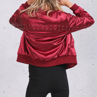 Lace Up Satin Bomber Jacket
