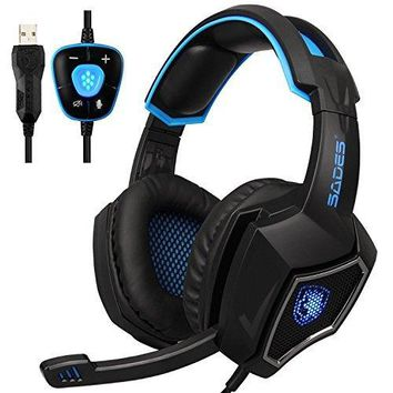 SADES Wolf 7.1 Surround Sound Stereo Over-the-Ear Noise Isolating USB Gaming Headphone with Mic - Black Blue