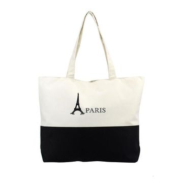 Large Capacity Women Canvas Handbag Zipper Shopping Shoulder Bag Paris Eiffel Tower Pattern Girls Beach Bookbag Casual Tote