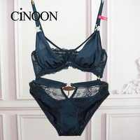 Sexy Lace Floral Push Up Women Bra Set Intimate Lingerie Underwire Plunge Unlined Sexy Bra And Panty Sets Satin Bra Brief Set